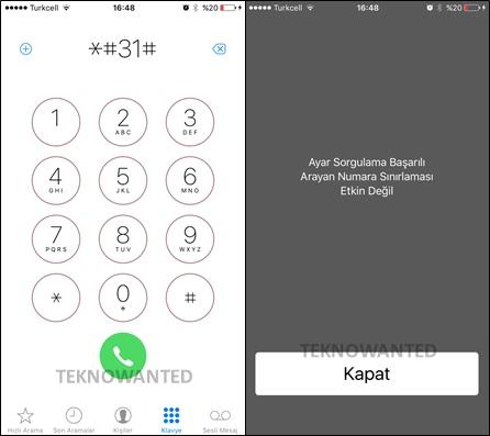 iPhone numara gizleme kodu